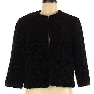 faux lamb one clasp black jacket